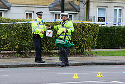**Please note the deceased concerned in this fatal collision was a pedestrian, not a cyclist as previously reported**<br /> © Licensed to London News Pictures. 30/01/2020. London, UK. Medical equipment and evidence markers at the crime scene on Peckham Road as police investigate a fatal road traffic collision in Southwark. Police were called at 06:26hrs on Thursday, 30 January to reports of a VW Golf car in collision with a pedestrian. The pedestrian was pronounced dead at the scene shortly after the collision. Police have arrested one man at the scene on suspicion of causing death by dangerous driving and failing a roadside drug test. Photo credit: Dinendra Haria/LNP