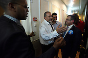 Leader of the Yisrael Beytenu political party and Israeli Minister of Foreign Affairs Avigdor Liberman with his staff at the corridor of a hotel on his way out of an elections campaign event took place on February 24, 2015 in Netanya. Photo by Gili Yaari