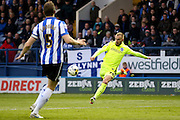 Brighton striker Jiri Skalak (38)  with a shot during the Sky Bet Championship play-off first leg match between Sheffield Wednesday and Brighton and Hove Albion at Hillsborough, Sheffield, England on 13 May 2016. Photo by Simon Davies.