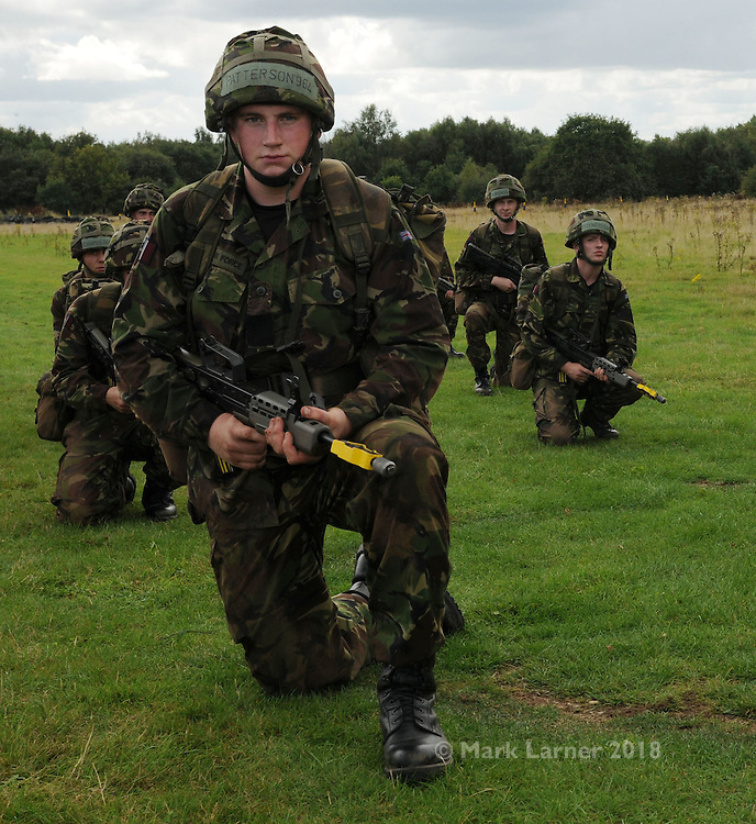 09/09/2010. .Picture shows RAF recruits participating in Operation DOTA at RAF Cosford. Op DOTA is a basic infantry training package that all RAF recruits have to undergo on Cosford's Deployed Operational Training Area...DSOP.DCAE Cosford.Wolverhapton.Westmidlands.WV7 3EX.