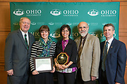 Award recipients of the Provost's Award for Excellence in Teaching pose with Ohio University leadership following the ceremony in Baker Ballroom on Oct. 31, 2018. Photo by Hannah Ruhoff