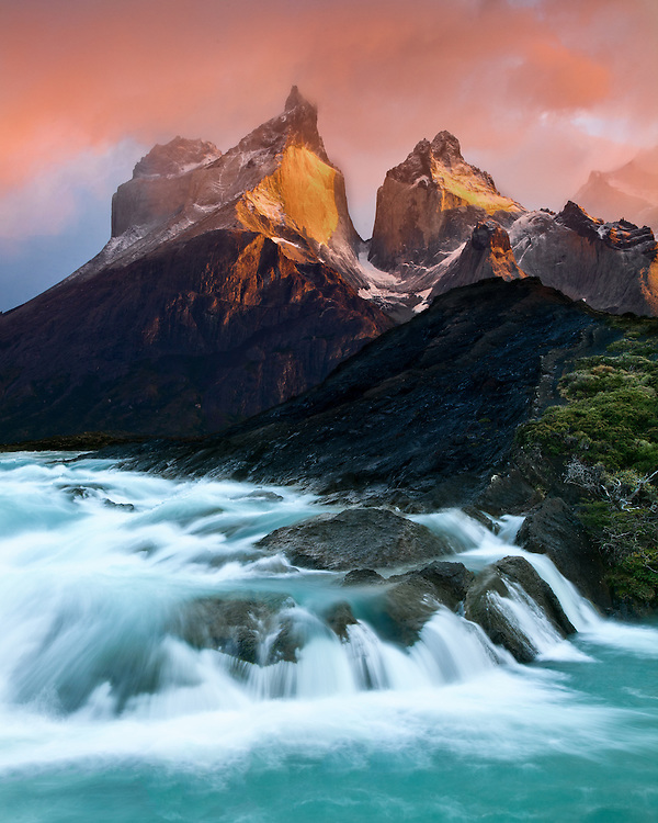 The Cuernos at Sunrise and the Paine River, Torres del Paine National Park, Chile