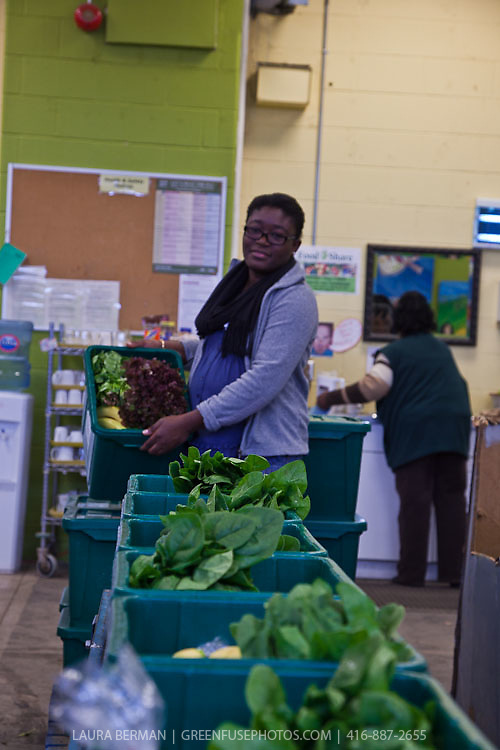 Volunteers and staff packing the Good Food Box at FoodShare Toronto.