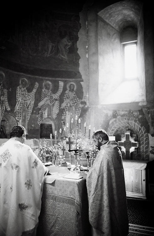 Neamt County, Romania, July 2007<br /> Orthodox monks during a mass.<br /> Photo: Ezequiel Scagnetti