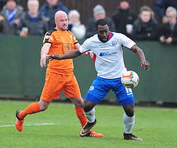 RYAN ROBBINS  RUSHDEN & DIAMONDS BATTLES WITH STEVE NOAKES HARTLEY WINTNEY FC,  AFC Rushden & Diamonds v Hartley Wintney FC Hayden Road, Evo Stik League South East Saturday 2nd December 2017 Score 2-0, Rushden go top of League, Photo:Mike Capps