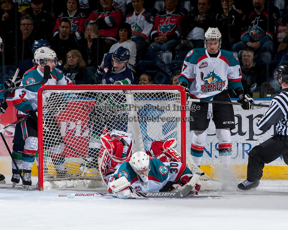 KELOWNA, CANADA - APRIL 3: Jordon Cooke #30 of the Kelowna Rockets makes a save against the Seattle Thunderbirds on April 3, 2014 during Game 1 of the second round of WHL Playoffs at Prospera Place in Kelowna, British Columbia, Canada.   (Photo by Marissa Baecker/Getty Images)  *** Local Caption *** Jordon Cooke;