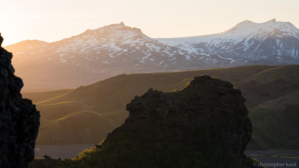 Þórsmörk at sunset, South Iceland.