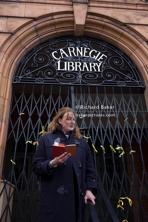 Labour Councillor Rachel Heywood joins campaigners to recites Shakespeare on the 400th anniversary of the Bard's birthday, April 24th, on the steps of the now closed Carnegie Library in Herne Hill, south London. The local community occupied their important resource for learning and social hub and after a long campaign but now Lambeth have gone ahead and closed the library's doors for the last time because they say, cuts to their budget mean millions must be saved. They plan to re-purpose it into a gym although details are unknown.