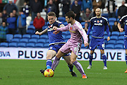 Reading midfielder Oliver Norwood and Cardiff City midfielder Aron Gunnarsson during the Sky Bet Championship match between Cardiff City and Reading at the Cardiff City Stadium, Cardiff, Wales on 7 November 2015. Photo by Jemma Phillips.