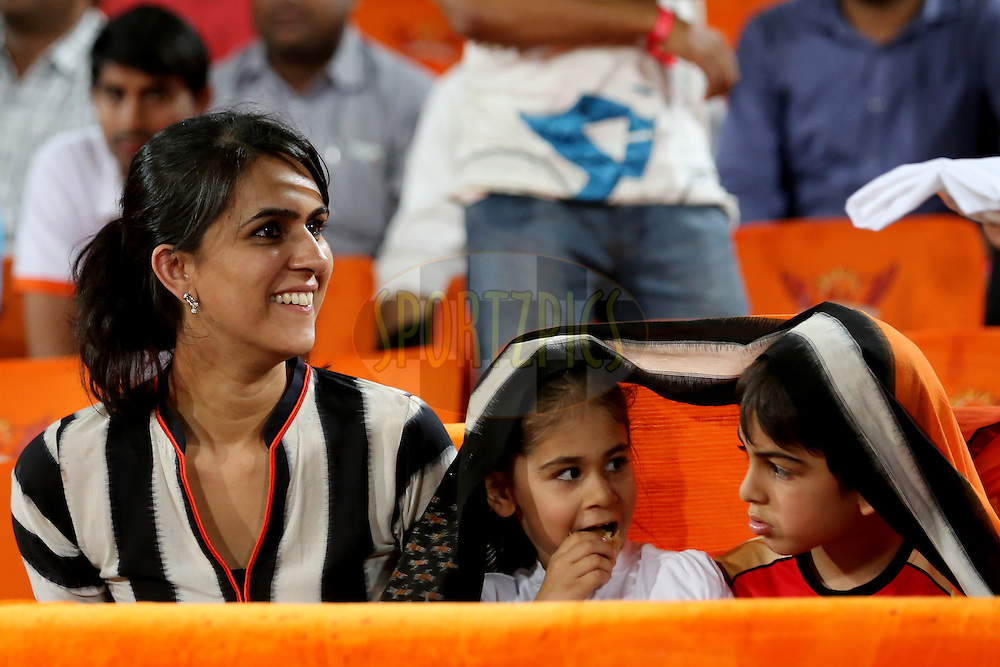 Sunrisers Hyderabad player Ashish Nehra wife Rushma Nehra and his children Ariana Nehra and Aarush Nehra during match 22 of the Vivo IPL 2016 (Indian Premier League ) between the Sunrisers Hyderabad and the Rising Pune Supergiants held at the Rajiv Gandhi Intl. Cricket Stadium, Hyderabad on the 26th April 2016<br /> <br /> Photo by Faheem Hussain / IPL/ SPORTZPICS