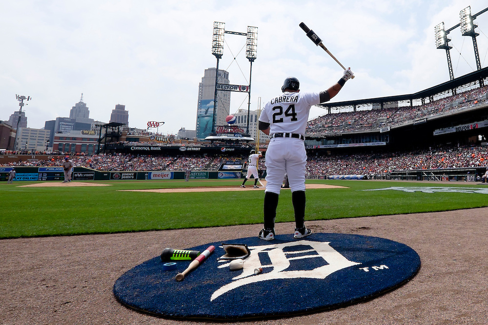May 9, 2015; Detroit, MI, USA; Detroit Tigers first baseman Miguel Cabrera (24) gets set to bat in the first inning against the Kansas City Royals at Comerica Park. Mandatory Credit: Rick Osentoski-USA TODAY Sports
