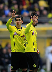 15.02.2014, Signal Iduna Park, Dortmund, GER, 1. FBL, Borussia Dortmund vs Eintracht Frankfurt, 21. Runde, im Bild Nuri Sahin (Borussia Dortmund #18), Pierre-Emerick Aubameyang (Borussia Dortmund #17) mit jeweils drei erhobenen Fingern, Symboldbild drei Punkte // during the German Bundesliga 21th round match between Borussia Dortmund and Eintracht Frankfurt at the Signal Iduna Park in Dortmund, Germany on 2014/02/15. EXPA Pictures © 2014, PhotoCredit: EXPA/ Eibner-Pressefoto/ Schueler<br /> <br /> *****ATTENTION - OUT of GER*****