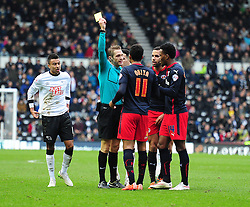 Reading's Jordan Obita gets booked. - Photo mandatory by-line: Alex James/JMP - Mobile: 07966 386802 - 14/02/2015 - SPORT - Football - Derby  - ipro stadium - Derby County v Reading - FA Cup - Fifth Round