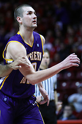 05 January 2013:  Jake Koch sports tape and a bandage on his right eye after enduring a elbow by Kaza Keane on a previous play during an NCAA Missouri Valley Conference (MVC) mens basketball game between the Northern Iowa Panthers and the Illinois State Redbirds in Redbird Arena, Normal IL