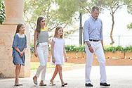 King Felipe VI of Spain, Queen Letizia of Spain, Crown Princess Leonor, Princess Sofia pose for the photographers at the Marivent Palace on July 31, 2017 in Palma de Mallorca, Spain.