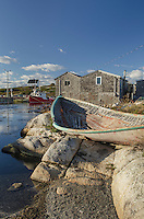 Derelict dory and fisherman's shacks at Peggy's Cove Nova Scotia