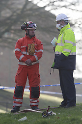 © Licensed to London News Pictures. 27/12/2018. Andover, UK. The scene on King Arthur's Way in Andover, Hampshire where a mans body has been pulled from wreckage, following an explosion at a house. Residents have been evacuated form the area following a blast in the early hours of this morning. Photo credit: Peter Macdiarmid/LNP