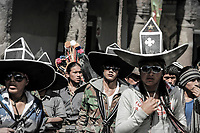 Participants in Inti Raymi festival of the sun, held every June solstice in Cotacachi, Ecuador
