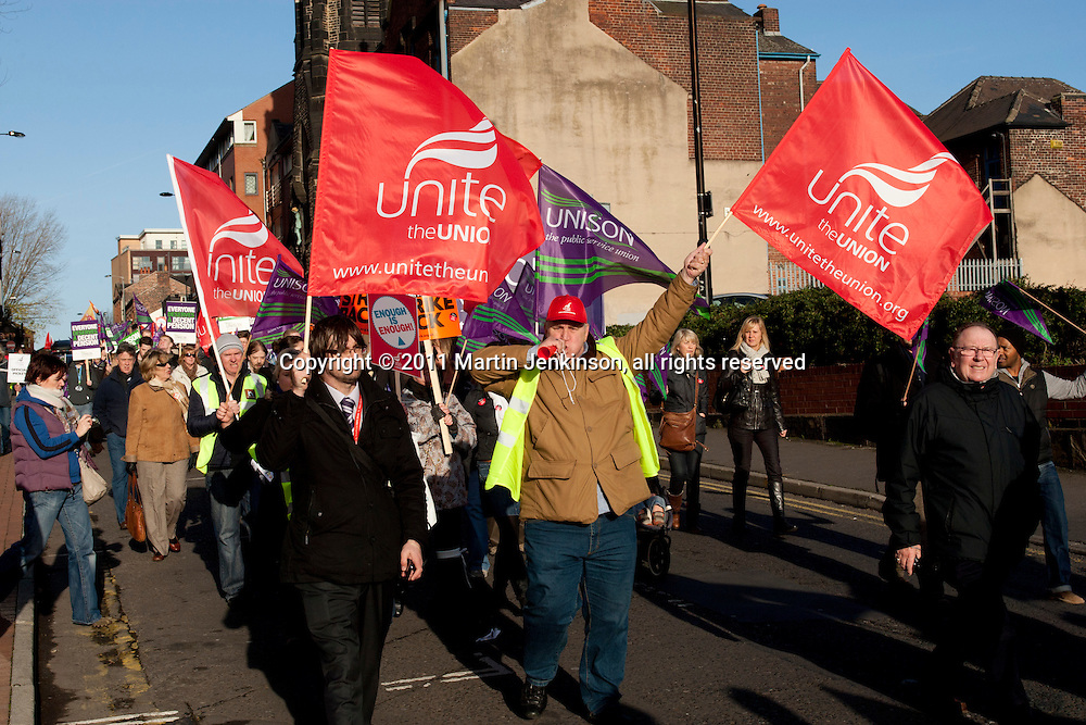 Unite members on the TUC Day of Action 30th November, Sheffield..© Martin Jenkinson, tel 0114 258 6808 mobile 07831 189363 email martin@pressphotos.co.uk. Copyright Designs & Patents Act 1988, moral rights asserted credit required. No part of this photo to be stored, reproduced, manipulated or transmitted to third parties by any means without prior written permission