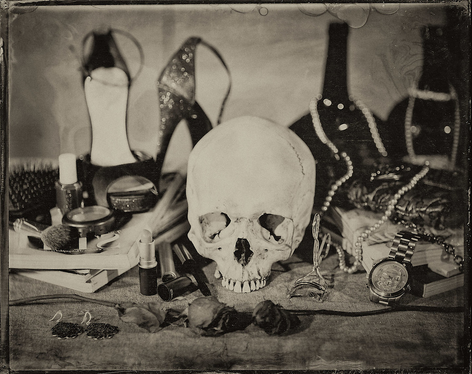 "Images from ""Vanitas Fair,"" a collection of tintypesinvestigating mortality through modern recreations of vanities, memento mori and nature morte paintings."