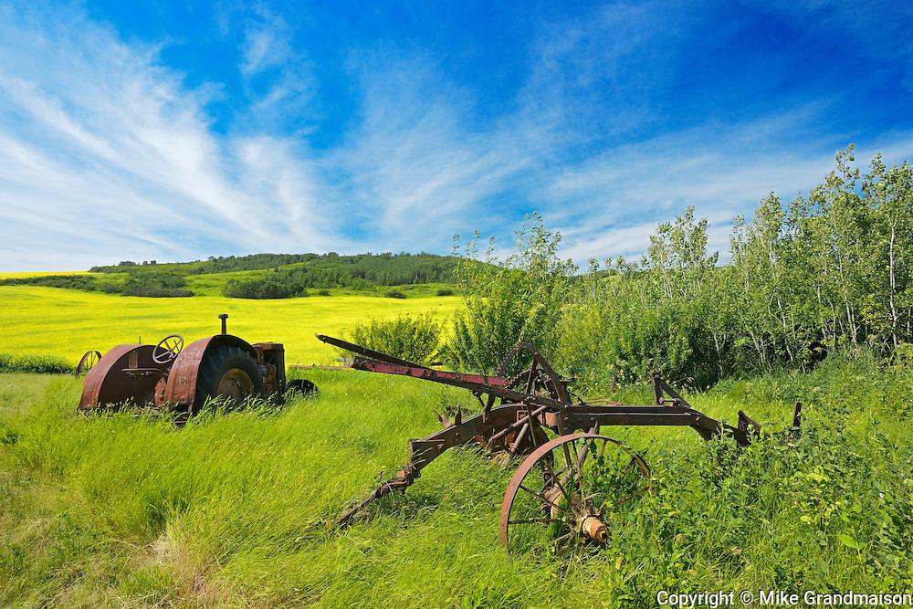 Old farm equipment (tractor and cultivator) and canola crop on farmland<br /> Baljennie<br /> Saskatchewan<br /> Canada
