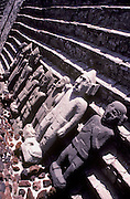 MEXICO, MEXICO CITY, AZTEC CULTURE Museum of the Great Temple in the Z�calo or Main Square, carved stone figures in the excavation site