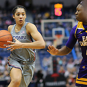 HARTFORD, CONNECTICUT- JANUARY 4: Gabby Williams #15 of the Connecticut Huskies drives to the basket defended by Gabrielle Holston #40 of the East Carolina Lady Pirates in action during the UConn Huskies Vs East Carolina Pirates, NCAA Women's Basketball game on January 4th, 2017 at the XL Center, Hartford, Connecticut. (Photo by Tim Clayton/Corbis via Getty Images)