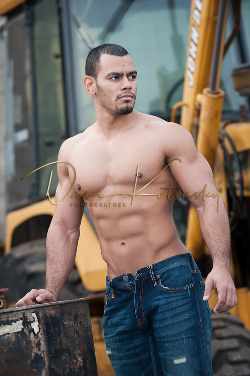 Jay Fitness Model.  Ripped fitness Model poses in urban Newark Setting.