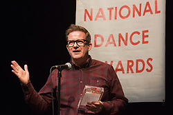 "© Licensed to London News Pictures. 27 January 2014. London, England. Pictured: Matthew Bourne is awared the De Valois Award for Outstanding Achievement. The Critics' Circle National Dance Awards 2013 take place at ""The Place"" in London. Photo credit: Bettina Strenske/LNP"