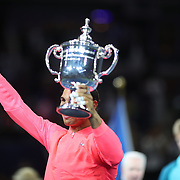 2017 U.S. Open Tennis Tournament - DAY FOURTEEN.  Rafael Nadal of Spain with the trophy after winning the Men's Singles Final defeating Kevin Anderson of South Africa at the US Open Tennis Tournament at the USTA Billie Jean King National Tennis Center on September 10, 2017 in Flushing, Queens, New York City.  (Photo by Tim Clayton/Corbis via Getty Images)