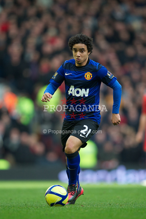 LIVERPOOL, ENGLAND - Saturday, January 28, 2012: Manchester United's Rafael da Silva in action against Liverpool during the FA Cup 4th Round match at Anfield. (Pic by David Rawcliffe/Propaganda)