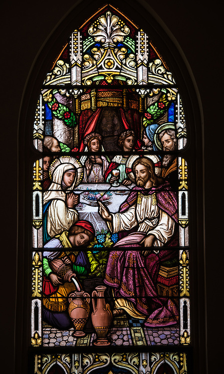 Stained glass window at St. Mary Church in Bear Creek, Wis., depicts Jesus and his mother at the wedding feast at Cana. (Sam Lucero photo)