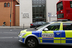 © Licensed to London News Pictures. 23/02/2019. London, UK. A police car outside The East London Mosque in Whitechapel, East London as security has been stepped up around Mosques following Christchurch attack in which 49 people died following a shooting at two mosques and a man in his late twenties has been charge with murder. Photo credit: Dinendra Haria/LNP