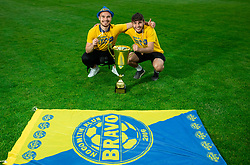 Marko Klemencic and Domen Jugovar during celebration of NK Bravo, winning team in 2nd Slovenian Football League in season 2018/19 after they qualified to Prva Liga, on May 26th, 2019, in Stadium ZAK, Ljubljana, Slovenia. Photo by Vid Ponikvar / Sportida