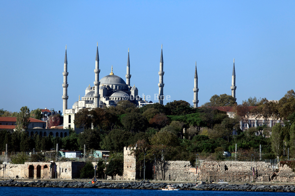 The Sultanahmet Camii also called the Blue mosque in Istanbul seen from the Sea of Marmara