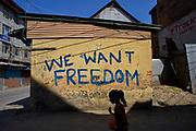 Pro-freedom graffiti in Srinagar on September 7, 2016.