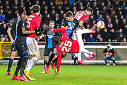 Manchester United forward Odion Ighalo (25) tries aromatics in the Club Brugge penalty area during the Europa League match between Club Brugge and Manchester United at Jan Breydel Stadion, Brugge, Belguim on 20 February 2020.