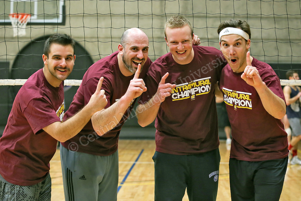 Intramural Volleyball Championships at the Student Activity Center for mens, womens, and CoRec teams.