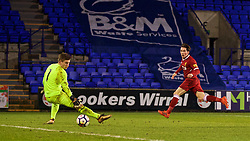 BIRKENHEAD, ENGLAND - Tuesday, December 19, 2017: Liverpool's Ben Woodburn scores the second goal past PSV Eindhoven's goalkeeper Mike Van De Meulenhof during the Under-23 FA Premier League International Cup Group A match between Liverpool and PSV Eindhoven at Prenton Park. (Pic by David Rawcliffe/Propaganda)