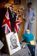 Portrait of Sir Winston Churchill in a shop wndow display during celebrations for wartime VE Day 50th anniversary.