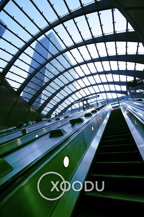 Canary Wharf escalators, London, England (June 2005)