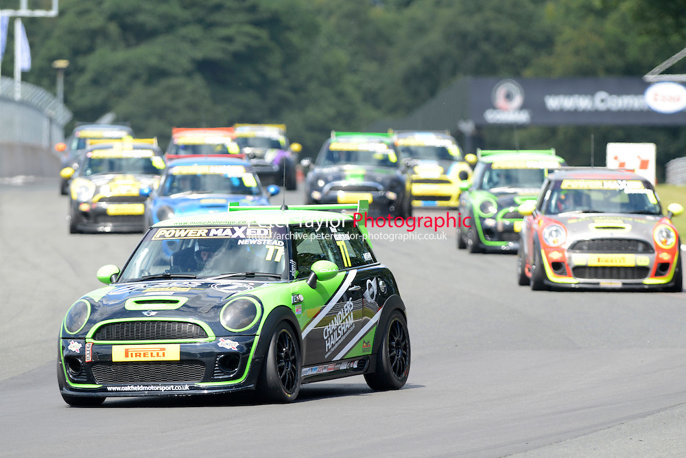 #77 Neil Newstead Mini JWC during Power Maxed Mini Challenge - F56/JCW - Race 1 as part of the Mini Festival  at Oulton Park, Little Budworth, Cheshire, United Kingdom. August 08 2015. World Copyright Peter Taylor. Copy of publication required for printed pictures.  Every used picture is fee-liable. http://archive.petertaylor-photographic.co.uk