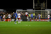 Michael Smith scores a goal to make it 3-3 during the The FA Cup match between Solihull Moors and Rotherham United at the Automated Technology Group Stadium, Solihull, United Kingdom on 2 December 2019.