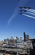 The Blue Angels fly over Safeco Field during a Mariners/Diaondbacks game at Safeco Field. (Dean Rutz / The Seattle Times)