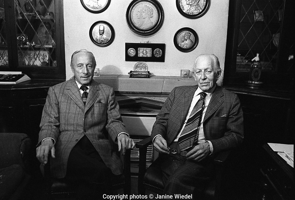 Mr Turner and Mr Simpson at Turner & Simpson Birmingham Medal Company a silversmiths and enamellers in Birmingham's Jewellery Quarter in the 1970s