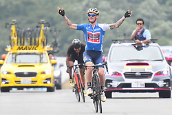 May 26, 2018 - Izu, Japan - Slovenian rider Grega Bole from Bahrain - Merida Team wins Izu stage, 120.8km on Izu-Japan Cycle Sports Center Road Circuit, the seventh stage of Tour of Japan 2018. Spanish rider Marcos Fernandez Garcia from Kinan Cycling Team keeps the race Leader Green Jersey..On Saturday, May 26, 2018, in Izu, Shizuoka Prefecture, Japan. (Credit Image: © Artur Widak/NurPhoto via ZUMA Press)