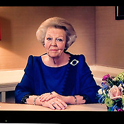 Nederland, Utrecht, 28-01-2013 Dutch Queen Beatrix announces her abdication on national television at 19.00 h local time. Photo: Gerard Til /Hollandse Hoogte