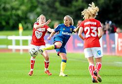 Poppy Pattinson of Bristol City is challenged by Adriana Leon- Mandatory by-line: Nizaam Jones/JMP - 28/04/2019 - FOOTBALL - Stoke Gifford Stadium - Bristol, England - Bristol City Women v West Ham United Women - FA Women's Super League 1