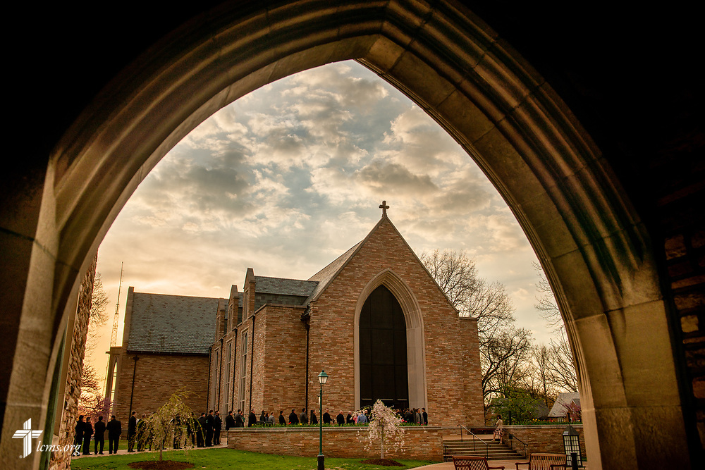 Pastoral candidates queue for the Service of Praise with Assignment of Calls outside the Chapel of St. Timothy and St. Titus at Concordia Seminary, St. Louis, on Tuesday, April 24, 2018. LCMS Communications/Erik M. Lunsford