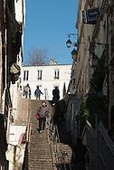 France. Paris 18th; people on Montmartre stairs, Rue Drevet